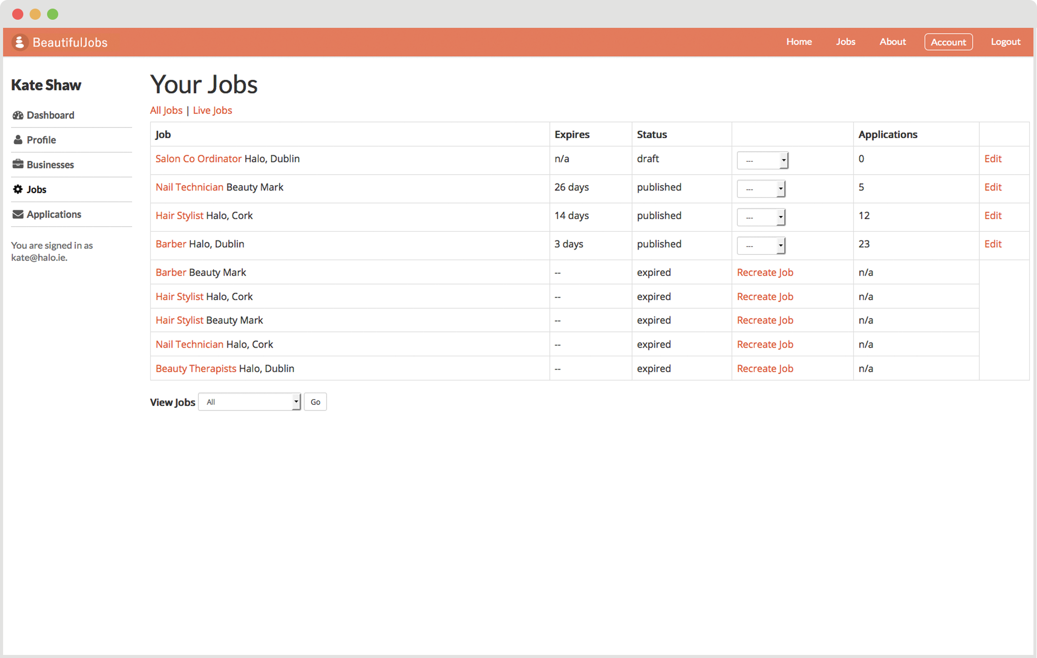 Your Jobs Screenshot